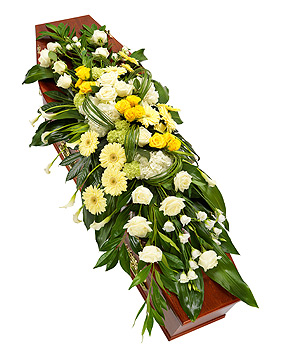 Yellow and White Casket Spray